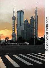 Modern office buildings background night in Shanghai