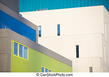 Modern office buildings. Colorful buildings in a industrial place.