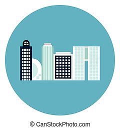 Modern Office Buildings Icon Web Button On Round Blue Background