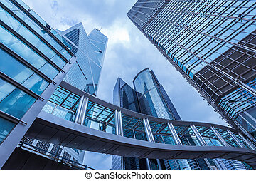 Modern office buildings in  blue color tone