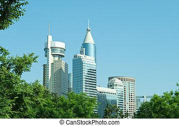 Modern Office Buildings in Shanghai China Skyline Trees