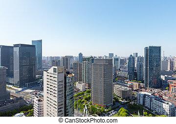 modern office buildings in shanghai