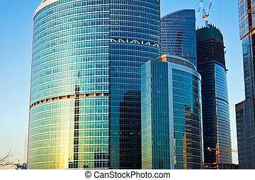 Skyscrapers of the International Business Centre at the evening, Moscow city