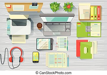 Modern Office Desk Elements Set View From Above