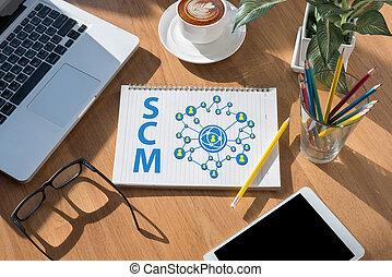 modern office desktop top view,