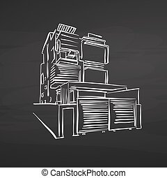 modern office house drawing on chalkboard