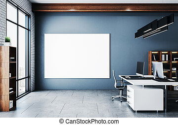 Modern office in a loft style interior with blank poster