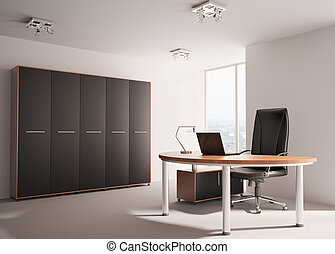 Modern office interior 3d - Modern office with wooden table...