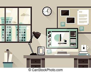 modern office interior in flat design