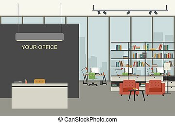 Modern office interior in flat style.