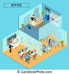 Modern Office Interior. Isometric Office. Businessman at Work. Corporative Office Building. Office Room with Furniture and Computers. Vector illustration