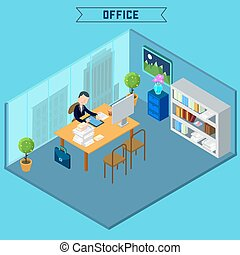 Modern Office Interior. Isometric Office. Businessman at Work. Office Room with Furniture and Computer. Vector illustration