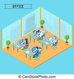 Modern Office Interior. Isometric Office. Businessman at Work. Office Room with Furniture and Computers. Vector illustration