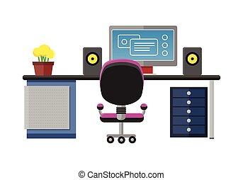 Modern office interior with designer desktop in flat design. Interior office room. Modern office room. Office space. illustration of office. Working place in modern office interior