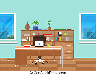 Modern office interior with designer desktop