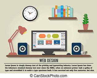 Modern office interior with designer desktop in flat design