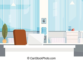Modern Office Interior Workplace Empty Chair Desk Flat...