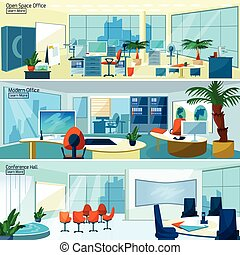 Modern office interiors banners - Office interiors...