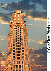 Modern Office Tower at Sunset