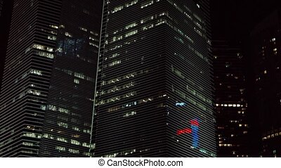 Modern Office Towers in a Big City at Night