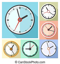 ... Modern Office Wall Clocks Icon Set   Clock Icons In Flat.