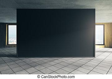 Modern office with empty chalkboard
