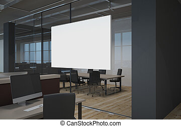 Modern office with empty poster - Side view of modern office...