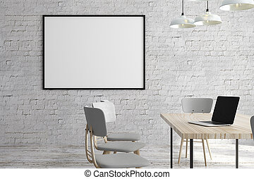 Modern office with laptop and billboard - Modern white brick...