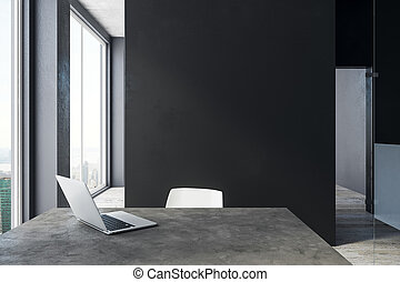 Modern office with laptop and copyspace - Modern office...