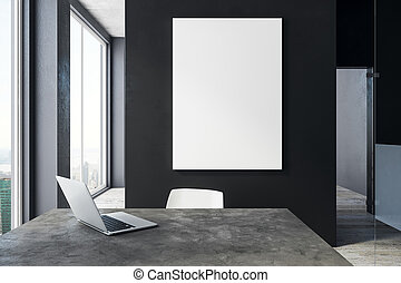 Modern office with laptop and poster - Modern office...