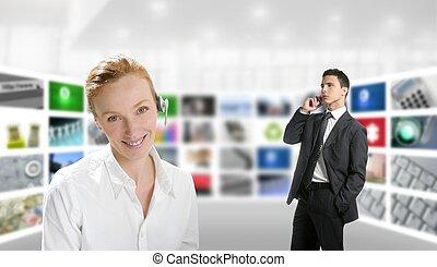Modern office, woman and businessman, tv screen