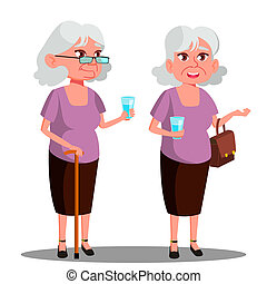 Modern Old Woman With A Glass In Her Hand Vector. Isolated Illustration