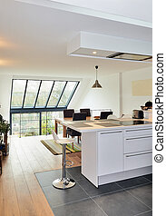 Modern open kitchen in renovated house with view on a lush...