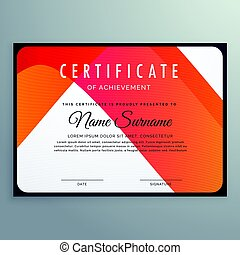 modern orange certificate of achievement template design