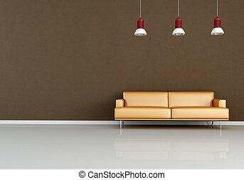 modern orange couch against brown wall - rendering