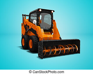 Modern orange loader snow blower with scuffs isolated 3d render on blue background with shadow