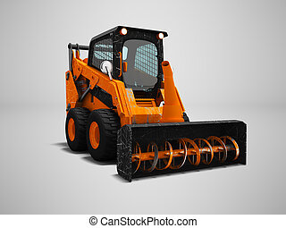 Modern orange loader snow blower with scuffs isolated 3d render on gray background with shadow