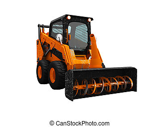 Modern orange loader snow blower with scuffs isolated 3d render on white background no shadow