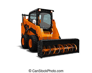 Modern orange loader snow blower with scuffs isolated 3d render on white background with shadow