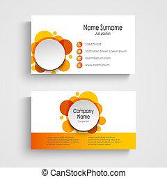 Modern orange round business card template