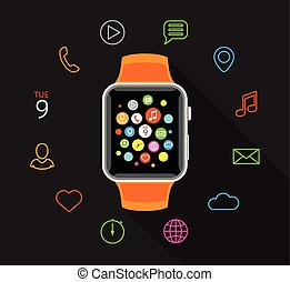 Modern orange smartwatch with colorful app icons on grey background