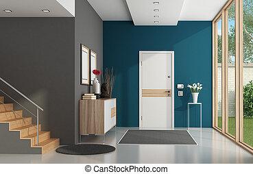 modern, otthon, belépés
