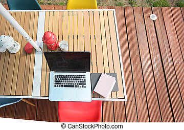 modern outdoor office in the garden