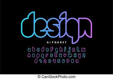 Modern outline font design, alphabet letters and numbers vector illustration