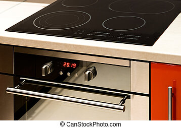 Modern Oven - Modern electric oven with digital display and...