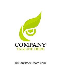 Modern owl eye and leafl logo. Vector illustration.