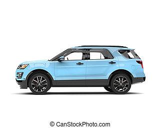 Modern pale blue SUV car - side view