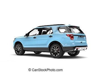 Modern pale blue SUV car - tail view