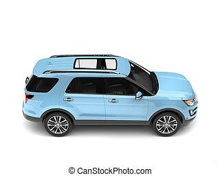 Modern pale blue SUV car - top down side view