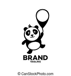 Modern Panda on a balloon logo